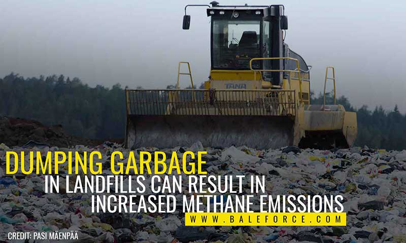 Dumping garbage in landfills can result in increased methane emissions