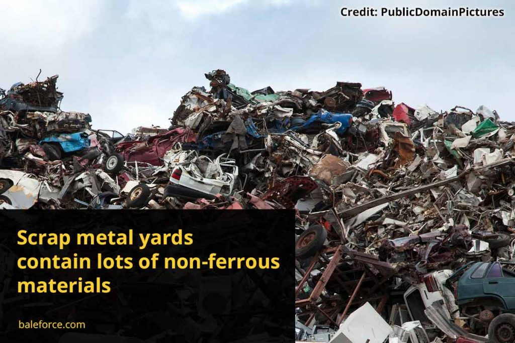 Scrap metal yards contain lots of non-ferrous materials