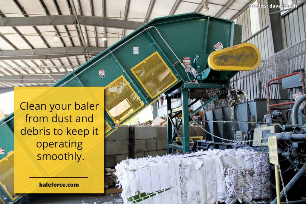 Clean your baler from dust and debris to keep it operating smoothly.