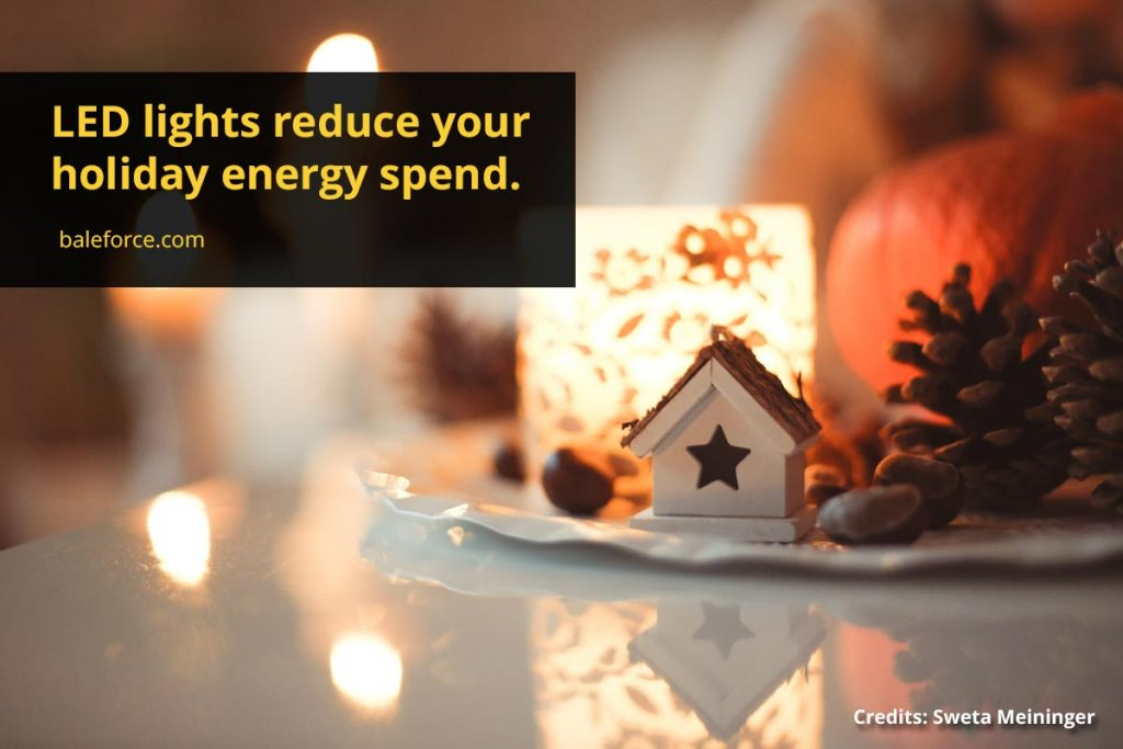 LED lights reduce your holiday energy spend.