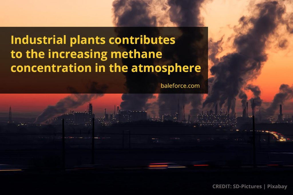 Industrial plants contributes to the increasing methane concentration in the atmosphere